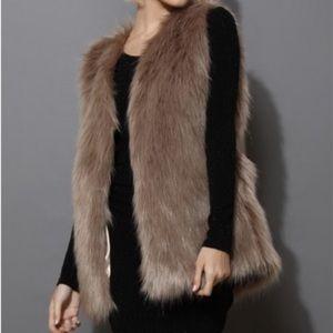 Brown faux fur vest
